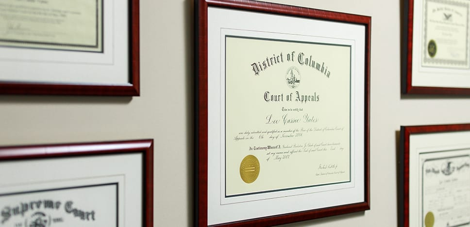 Certifications Hanging on Office Wall